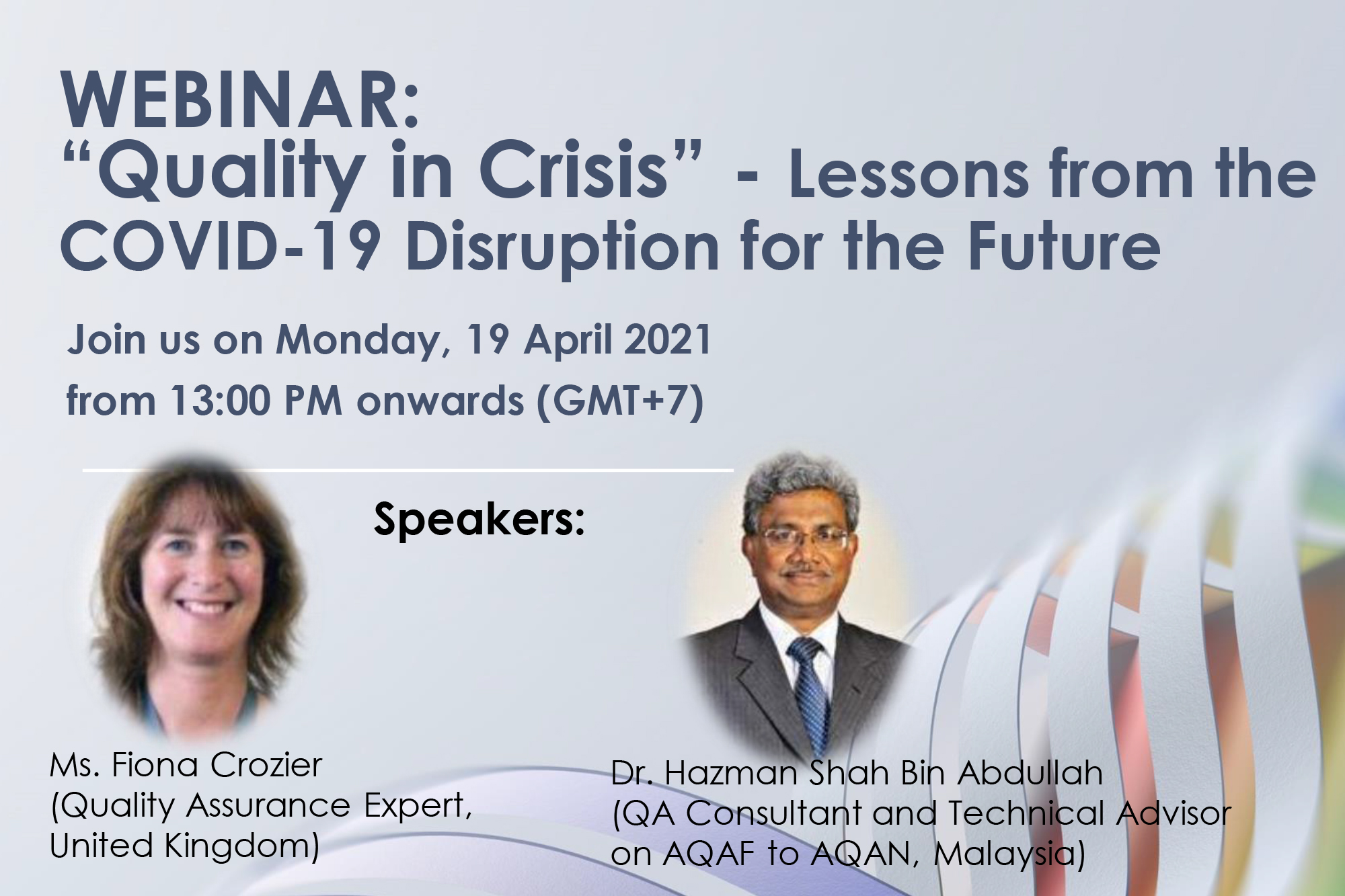 "Webinar ""Quality in Crisis"" - Lesson from the COVID-19 Disruption for the Future"